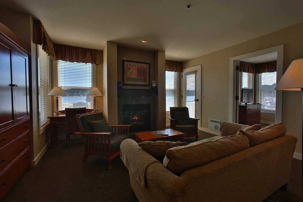 Guest Room, Fireplace, Marina, Resort, Olympic Peninsula