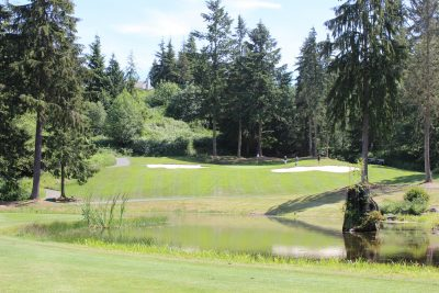 Pond, Golfers, Golf Course, Olympic Peninsula