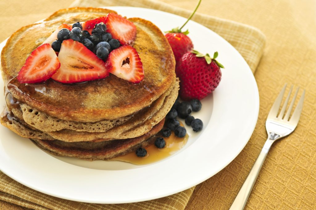 Pancakes, Breakfast, Fruit